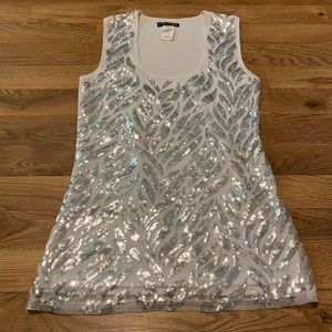 Body Central White w/silver Sequined Tank Small